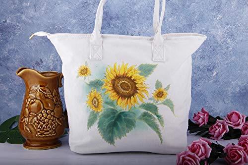 Handmade Fabric Handbags - Hand Painted Sunflower Large Vegan Canvas Tote Bag with Pocket and Zipper,Womens White Cotton Linen Fabric Shoulder Bag,Laptop Briefcase Handbag,Flower Purse,Teacher Nurse Birthday Christmas Gift
