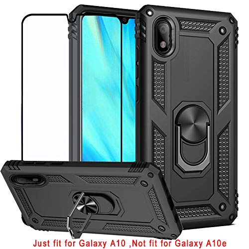 Best Share for Samsung Galaxy A10 Case & Screen Protector (Not for Galaxy A10e), Rugged Hybrid Armor Anti-Scratch Shockproof Kickstand Cover Compatible Magnetic Car Mount Ring Grip, Black