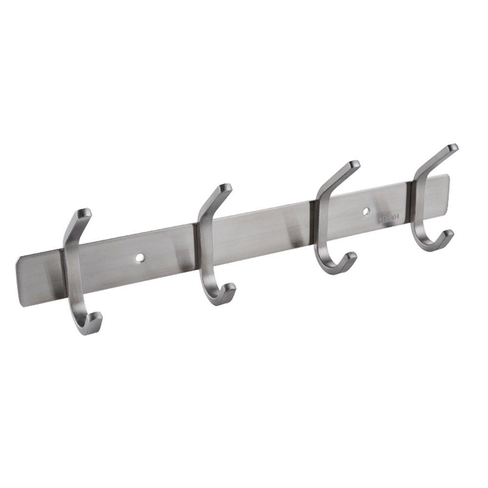 KES SUS 304 Stainless Steel Towel/Coat Hook Rack Rail Shelf with 4 Hooks Robe Hanger Bathroom Storage Organizer Wall Mount, Brushed Finish, AH203H4-2