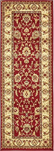 Rug Mahal Red (Unique Loom Voyage Collection Traditional Oriental Classic Red Runner Rug (2' x 6'))
