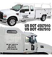 1060 Graphics - Custom Truck Registration Numbers (Two Sets) USDOT, MC, GVW, Vinyl Lettering Lett...