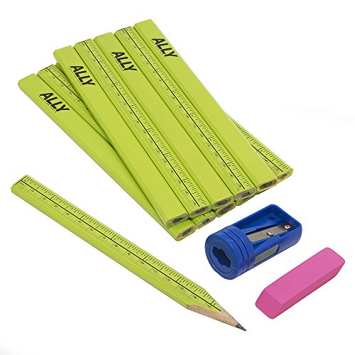 ALLY Tools 12 PC Neon Green Carpenter Pencil Kit with Printed Metric/Inch Ruler INCLUDES Sharpener and Pink Eraser Ideal For Precision Marking on Wood, Stone, and Concrete
