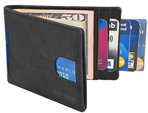 Leather Slim Billfold Wallet (Simpac RFID Blocking Bifold Slim Genuine Leather Thin Minimalist Front Pocket Wallets for Men Money Clip Full Grain Leather)