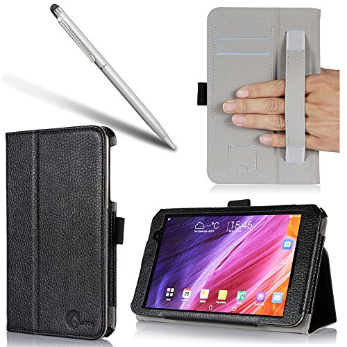 i-BLASON Asus Memo Pad 7 Case [ME176C / ME 176Cx] - Leather Case Cover (Elastic Hand Strap, Multi-Angle, Card Holder) With Bonus Stylus One Year Warranty (Memo Pad 7 (176C/176Cx), Black)