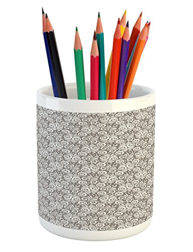Lunarable Floral Pencil Pen Holder, Classical Victorian Style Flowers Background in Scroll Shaped Curved Lines Art Print, Printed Ceramic Pencil Pen Holder for Desk Office Accessory, Grey White