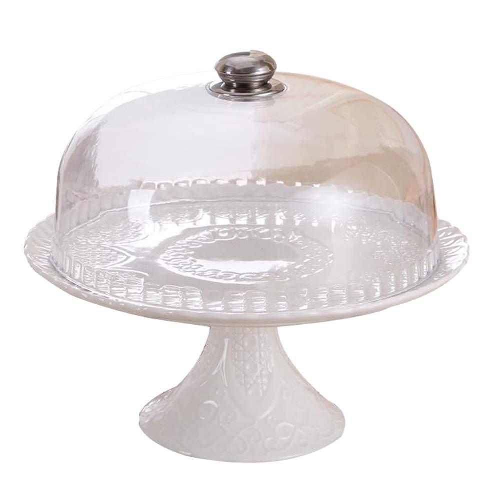 ケーキスタンド ホワイトセラミック 12インチ カップケーキディスプレイ フルーツデザートサービングトレイ 透明プラスチックドーム付き ベビーシャワー 結婚式 誕生日パーティー ホームデコレーション   B07MH1JQ2P