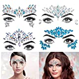 Face Gems, 4 Pcs Face Jewels Crystal Glitter Jewel Mermaid Sticker Bindi Adhesive Rhinestone Temporary Tattoo Eyebrow Body Stickers for Festival Rave Party
