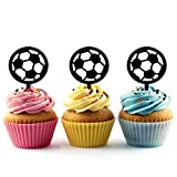 TA0643 Soccer Football Silhouette Party Wedding Birthday Acrylic Cupcake Toppers Decor 10 pcs