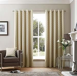 """Bordado Geométrico Crema Forrado 90""""X 54"""" - 229cm X 137cm con Ollados Curtains"""