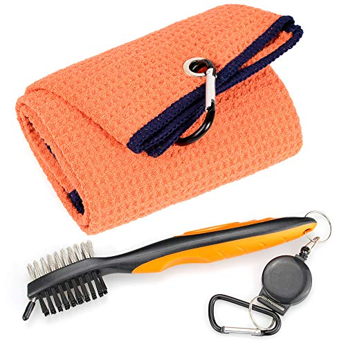 Mile High Life Microfiber Waffle Pattern Tri-fold Golf Towel | Brush Tool Kit with Club Groove Cleaner, Retractable Extension Cord and Clip (Orange Towel+Orange Brush)