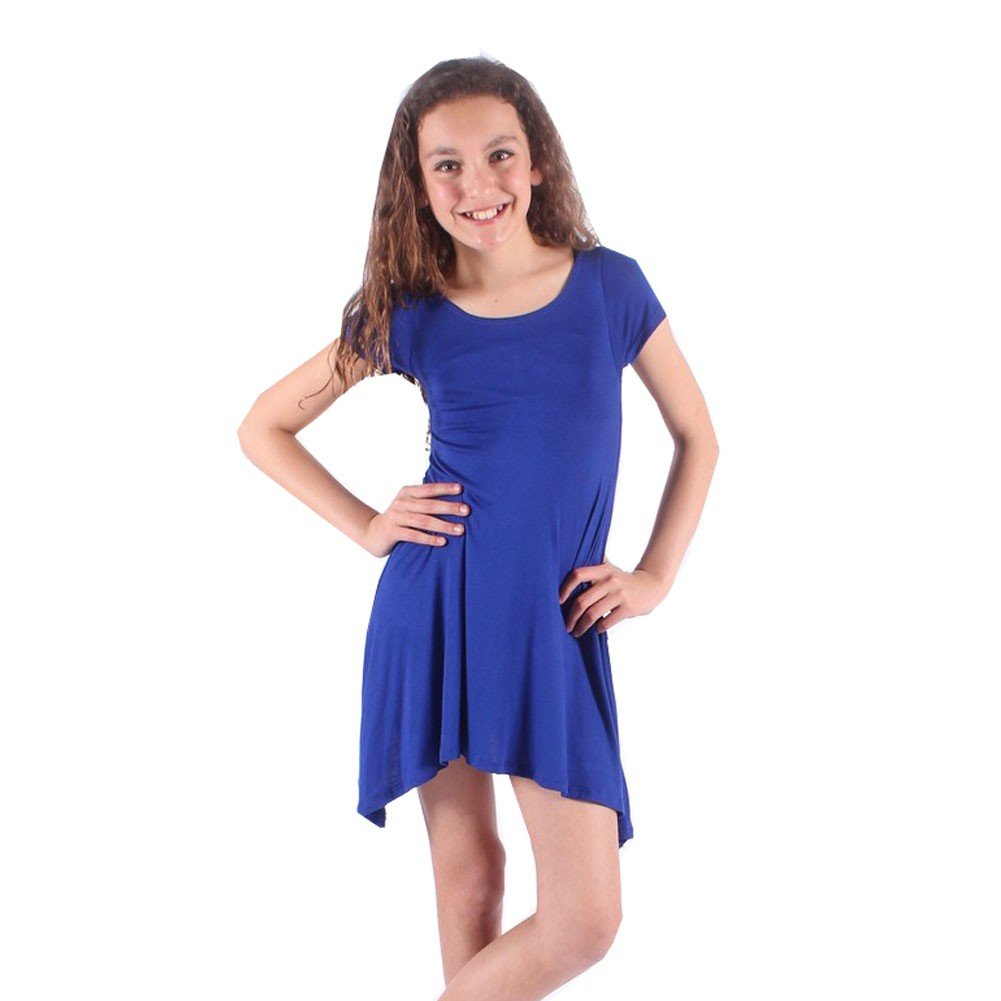 Lori/&Jane Little Girls Royal Blue Solid Color Short Sleeved Trendy Tunic Top 6//7