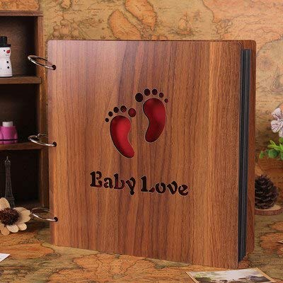 Vivona 12 Inch High-Grade Wooden Sculpture Print Children DIY Photo Album Scrapbooking Gift Handmade Baby Album Photo