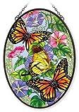 Stained Glass 12.5 X 17.5 Suncatcher Oval Unfurling Glory Butterfly