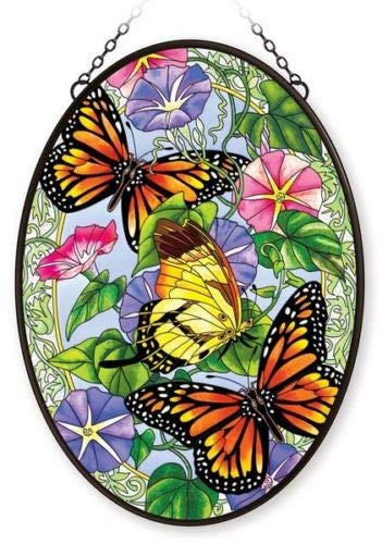 Stained Glass 12.5 X 17.5 Suncatcher Oval Unfurling Glory Butterfly
