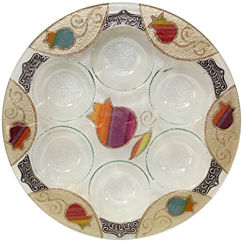 Majestic Giftware LASEPRB Round Passover Glass Seder Plate, 12-Inch