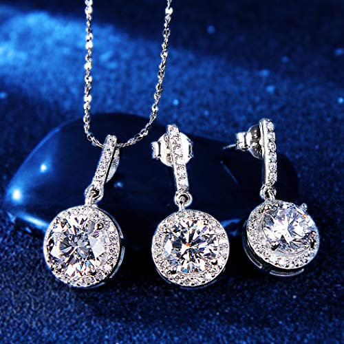 EVER FAITH 925 Sterling Silver CZ Gorgeous Round Cut Wedding Pendant Necklace Earrings Set 3