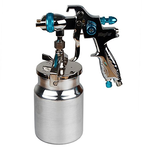 Professional HVLP Siphon Feed Spray Gun 1L Non-drip Paint Cup with Nozzle Tip Size 1.7mm
