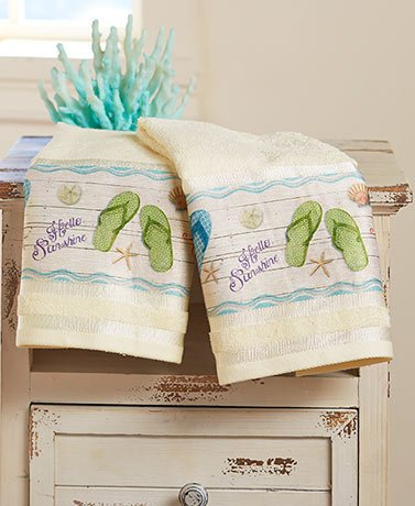 (Flip-Flops Bathroom Collection , Set of 2 Hand Towels)