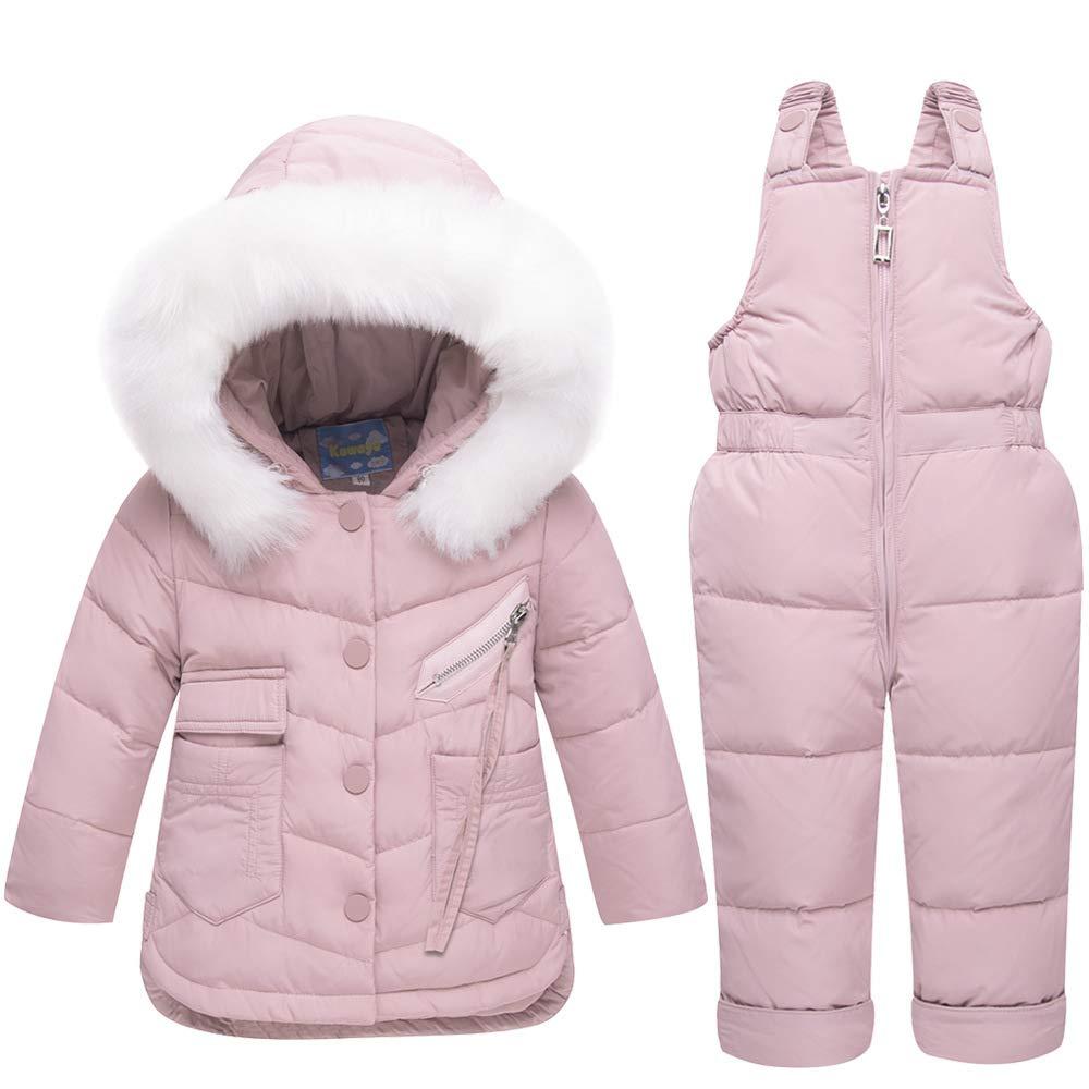 KIYOUMI Baby mit Kapuze Daunenmantel und Schnee-Hosen Outfits Set, Niedlich Kapuze + Schneehose Daunenjacke 2Pcs Kleidung Set