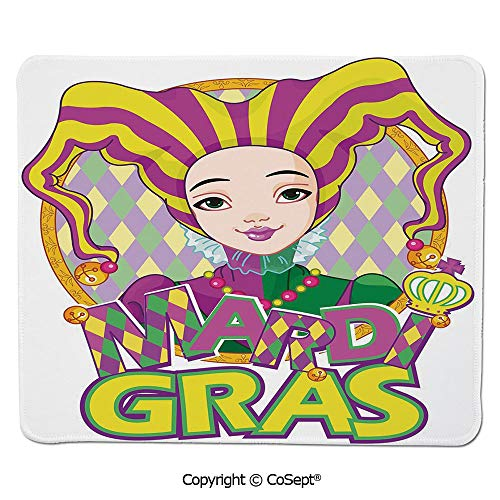 Premium-Textured Mouse pad,Carnival Girl in Harlequin Costume and Hat Cartoon Fat Tuesday Theme,Dual Use Mouse pad for Office/Home (11.81
