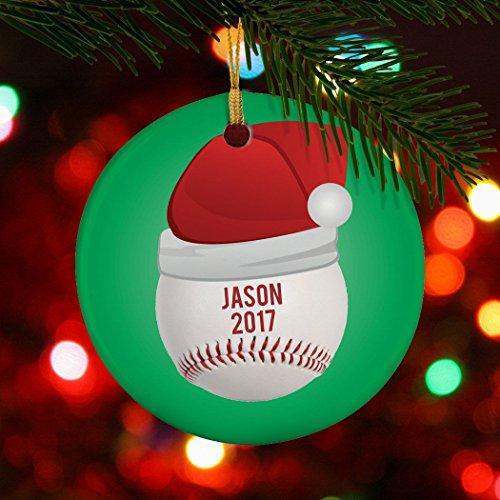 ChalkTalkSPORTS Personalized Baseball Porcelain Ornament   Santa Hat Christmas Ornament by ChalkTalkSPORTS (Image #2)
