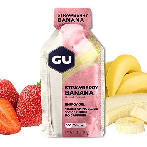 (GU Energy Original Sports Nutrition Energy Gel, Strawberry Banana, 8-Count Box)