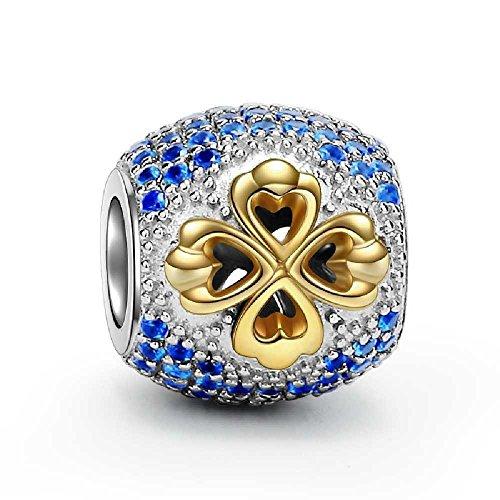 Gold Clover Charm 925 Sterling Silver Beads Paved Blue Cubic Zirconia Charms for Charms Bracelet