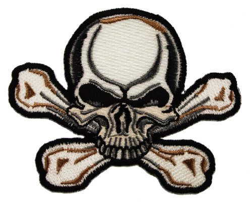 Crossbones & White Skull Biker Iron on Embroidered Patch D40