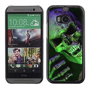 Caucho caso de Shell duro de la cubierta de accesorios de protección BY RAYDREAMMM - HTC One M8 - Scary Green Skull Vampire