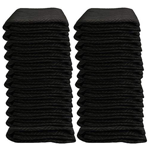 "Moving Blanket (24-Pack) 72"" X 80"" US Cargo Control - Econo Deluxe (130 Lbs/2 Dozen, Black/Gray) by US Cargo Control"