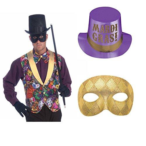 [Mardi Gras Vest, Mask and Hat Bundle] (Mardi Gras Costumes Vest)