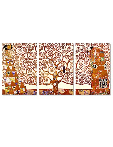 Fragile Earth Poster (DecorArts- The Tree of Life by Gustav Klimt (Triptych). Classic Art Giclee Prints canvas art for wall decor. 60x30