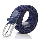 Weifert Men's Stretch Woven 1.3''Wide Elastic Braided Belts (34-37, Navy)
