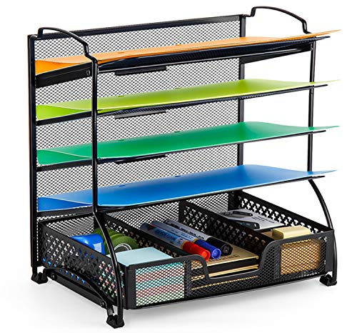 Bextsware 5-Tier Mesh Desktop Organizer File Folder with Sorters Basket, Document Letter Tray Holder Desk Accessories Organization Supplies for Office or Home, Black