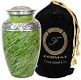 Cremation Urn for Ashes, For Adults up to 200lbs, Green Funeral Burial Urns w/Satin Bag for Human Ashes.