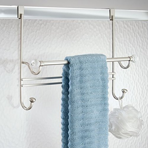 mDesign Over Shower Door Bathroom Towel Bar Rack with Hooks - Satin/White