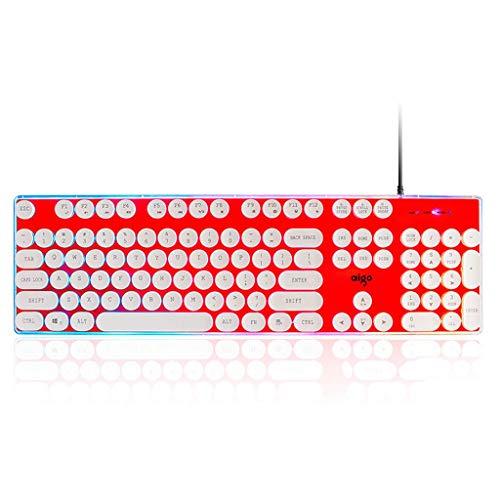 OFNMD Crystal Keyboard Wired Punk Retro Backlit Laptop Desktop Office Home External USB Mechanical Sense (Color : Rainbow Punk -