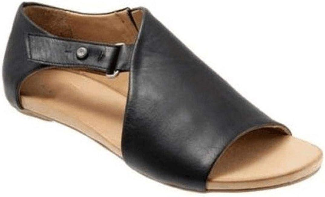 Gladiator Cut out Sandalias Planas para Mujer Hebilla Correa Gancho Bucle Peep Toe Calzado Casual