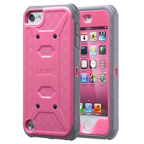 iPod Touch 6th generation case with screen protector,ULAK KNOX ARMOR Shockproof Dual Layer Belt Clip Holster Fullbody Protective Case Bumper Hard Cover for Apple iPod Touch 5/6th Generation-Rose (Itouch Cover)