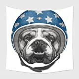 Home Decor Tapestry Wall Hanging Portrait Of English Bulldog With Helmet Hand Drawn Illustration 535207516 for Bedroom Living Room Dorm