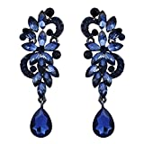 BriLove Wedding Bridal Dangle Earrings for Women Bohemian Boho Crystal Flower Chandelier Teardrop Bling Earrings Navy Blue Sapphire Color Black-Silver-Tone