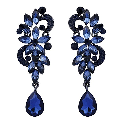 BriLove Wedding Bridal Dangle Earrings for Women Bohemian Boho Crystal Flower Chandelier Teardrop Bling Earrings Navy Blue Sapphire Color Black-Silver-Tone