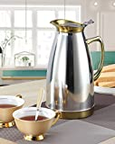 HUSKEY Modern Water Pitcher Kettle Iced Tea Jug Straight Pot Water/Juice/Beer/Coffee Pitcher for Restaurant/Home - Stainless Steel w/ Handle