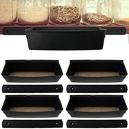 - 4 Pack Rubbermaid Black Shelf Tracks & Organization Bins Wire Wood Shelves Set Kitchen