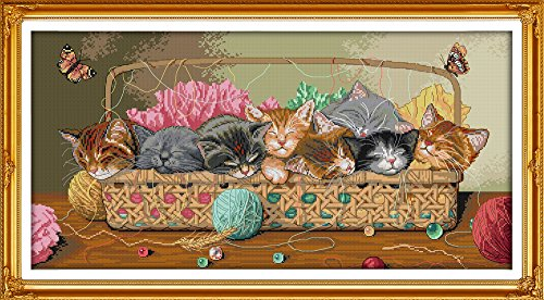 - CaptainCrafts Hot New Cross Stitch Kits Needlecrafts Patterns Counted Embroidery Kit - Newborn Eight kittens Cat In The Basket (WHITE)