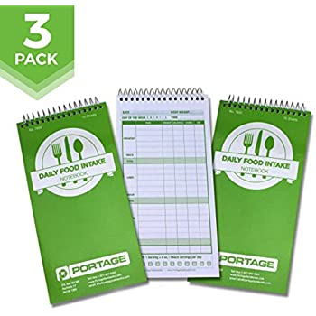 """Daily Food Intake Journal Notebook – 4"""" x 8"""" Meal Tracker/Food Diary to Log Calories, Carbs, Fat and More – 140 Pages (3 Pack)"""