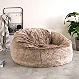 icon Faux Fur Bean Bag Chair - Light Mink Brown - Extra Large, 84cm x 70cm - Luxurious Furry BeanBag