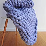 Blue Chunky Knit Large Blanket,Chunky Knit Throw,Arm Knitted Blanket,Wool Blanket,Chunky Knit,Giant Blanket for New Year Gift