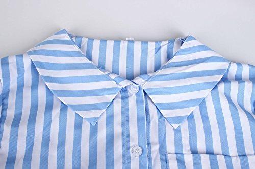 Longues Legendaryman Haut Fashion Femme Bleu Automne Blouse Printemps T Raye Tops Chemisiers Revers Manches Tee et Shirt Shirts Casual zrwzqa4
