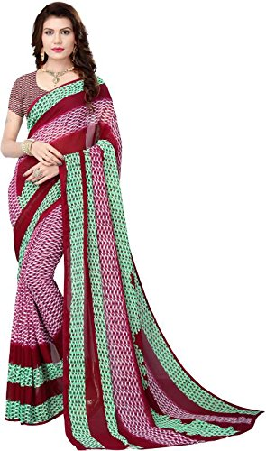 a134cb18f06 Vimalnath Synthetics Printed Fashion Faux Georgette Saree (HONEY3 GREEN)